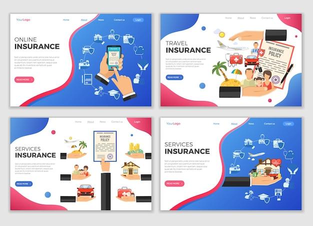 Szablony stron docelowych usług ubezpieczeniowych. poziome banery online, ubezpieczenia podróżne. płaski styl dwa kolorowe ikony samochód, dom, medycyna, edukacja i wakacje. ilustracja wektorowa na białym tle