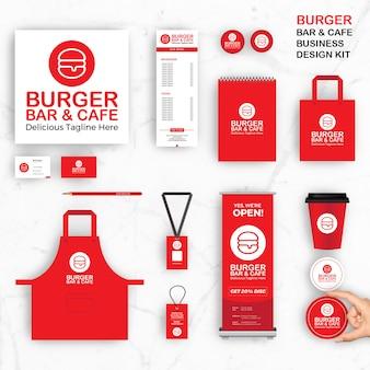 Szablony tożsamości marki dla baru i kawiarni burger