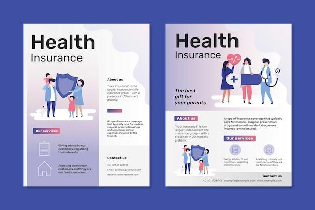 Szablony ulotek dla ubezpieczenia zdrowotnego