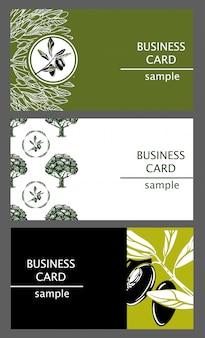 Szablony wizytówek z wizerunkiem gałązki oliwne i drzewa.