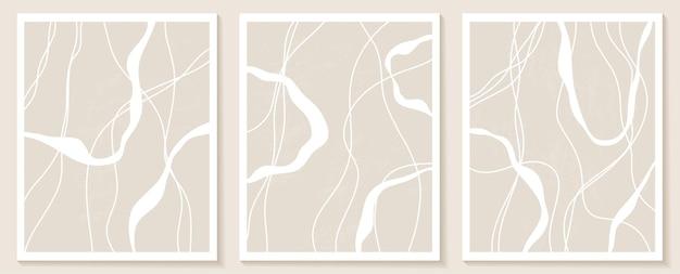 Szablony z organicznymi abstrakcyjnymi kształtami i liniami w kolorze nude