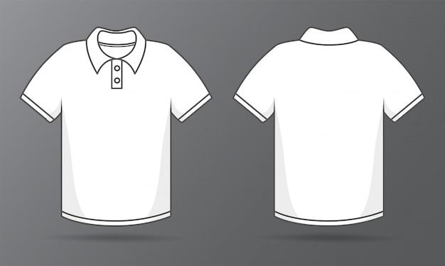 Szablony z przodu iz tyłu prosta biała koszulka do projektowania koszul.