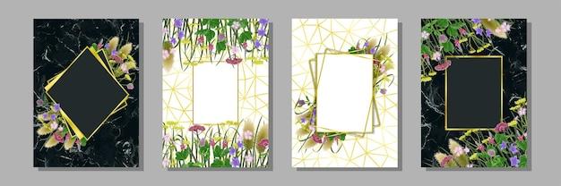 Szablony z siedmioma ziołami jesiennej równonocy japońskie makiety kartki urodzinowe z życzeniami