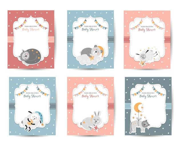 Szablony zaproszeń na baby shower z uroczymi zwierzętami dla niemowląt