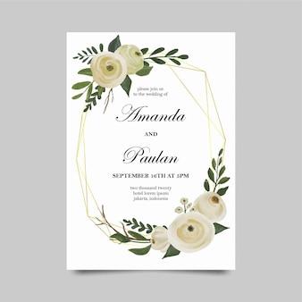 Szablony zaproszeń na ślub z kwiatami w akwarela i złotymi ramkami