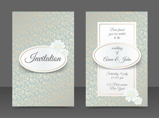 Szablony zaproszenia ślubne. projekt okładki ze złotym ornamentem liści, owalnym, białym kwiatem stokrotki. tradycyjne tło dekoracyjne. zapisz kartę daty w kolorze miedzi w tle kwiatowym.