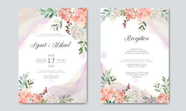 Szablony zaproszenia ślubne romantyczny kwiat