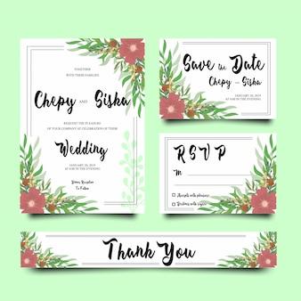 Szablony zaproszenia ślubne z ramkami kwiat
