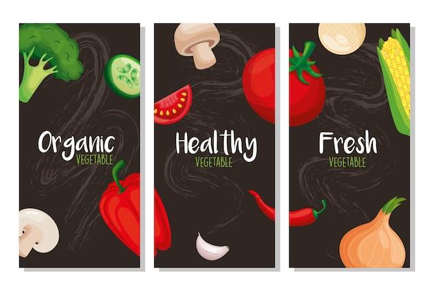 Szablony zdrowej żywności w stylu tablicy. ilustracja wektorowa