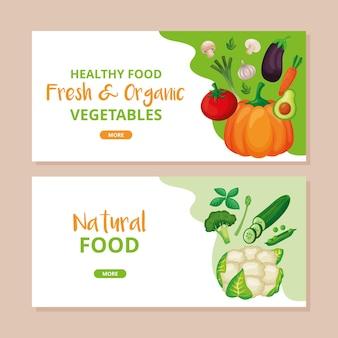 Szablony zdrowej żywności z warzywami. ilustracja wektorowa