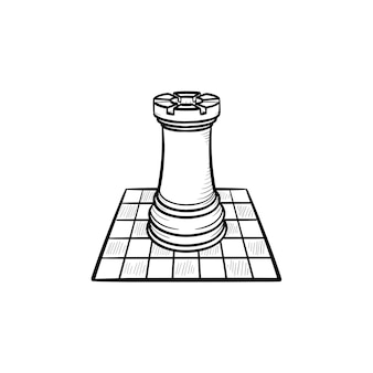 Szachownica i rysunek ręka ciągnione konspektu doodle ikona. gra intelektualna - szachy wektor szkic ilustracji do druku, sieci web, mobile i infografiki na białym tle.