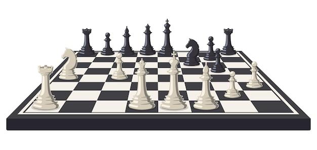 Szachownica. logiczna, intelektualna szachownica do gry, czarno-białe figury do gry w szachy