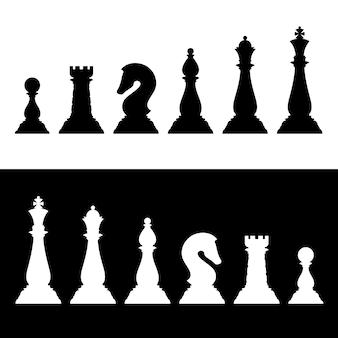 Szachy czarne sylwetki ustawione. ikony wektor strategii biznesowej
