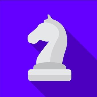 Szachy koń płaski ikona ilustracja na białym tle wektor symbol znak