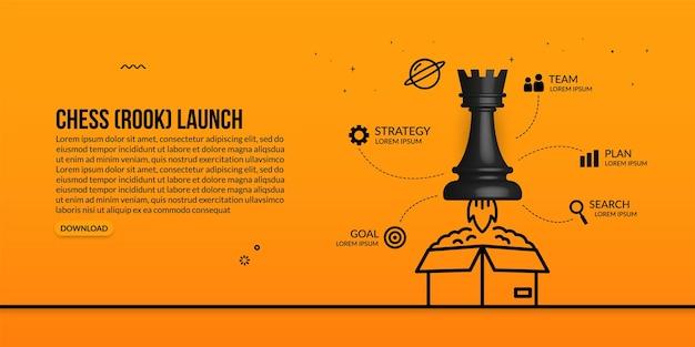 Szachy rook startuje po wyjęciu z pudełka infografikę koncepcji strategii biznesowej i zarządzania