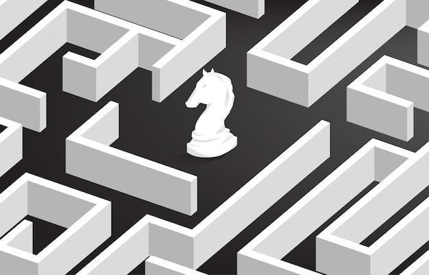 Szachy rycerza w centrum labiryntu. koncepcja biznesowa rozwiązywania problemów i strategii rozwiązań marketingowych