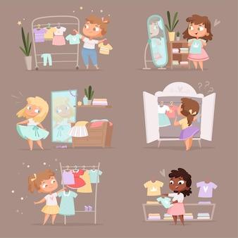 Szafa dziewczyna. rodzice pomagają wybrać ubrania dla dzieci przebieralnie na targowisku kreskówki. szafa dziewczęca, sukienka na wieszak