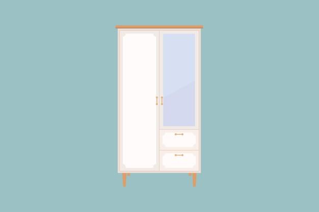 Szafa na ubrania. płaska konstrukcja ikony szafy na na białym tle. ilustracja wektorowa
