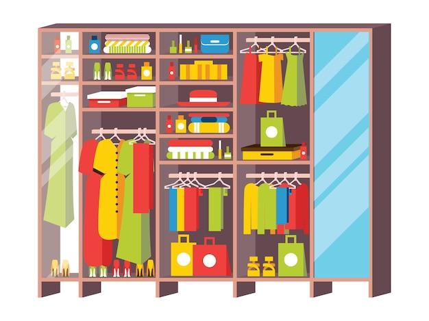 Szafa na ubrania z szufladami i półkami z garderoby