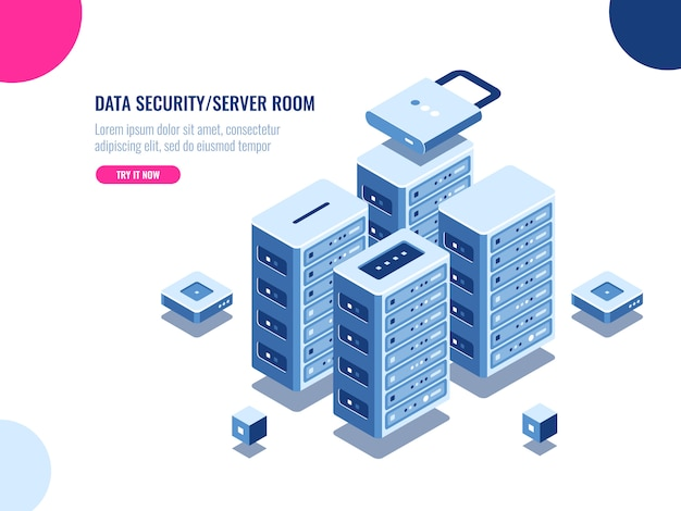 Szafa serwerowni, centrum danych i ikona izometryczna bazy danych, farma serwerowa