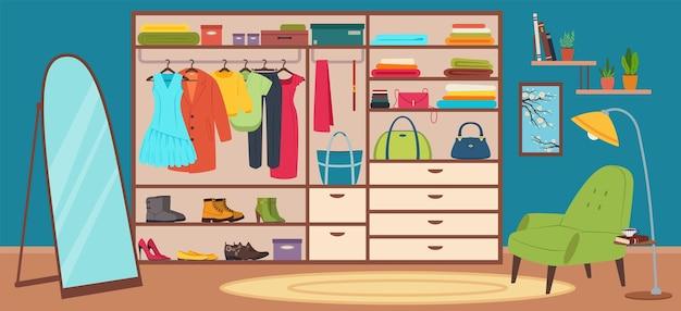 Szafa wewnętrzna garderoby z modnymi ubraniami dla kobiet nowoczesna sypialnia z kreskówkowym wektorem szafy