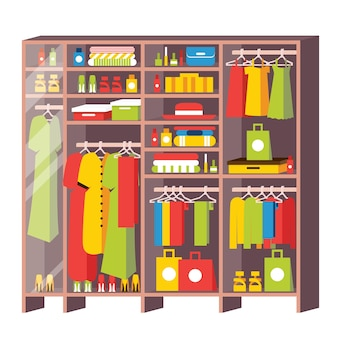 Szafa z szufladami i półkami z garderoby na białym tle. pudełka, torby, ubrania, sukienki i buty. szklane drzwi. ilustracja wektorowa.