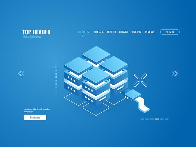 Szafka serwerowa, technologia przechowywania danych coud, centrum danych, ikona bazy danych