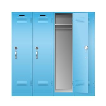 Szafki szkolne i gimnastyczne, realistyczne metalowe pudełka
