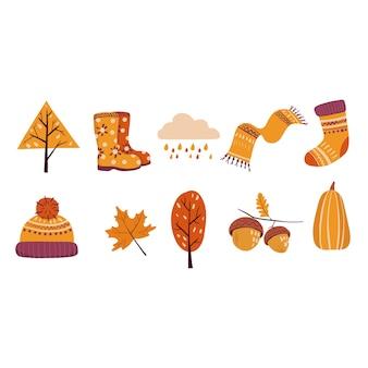 Szalik buty wełniany kapelusz drzewa liść klonu deszcz chmura żołędzie skarpetki dynia