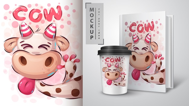 Szalona krowa ilustracja i merchandising