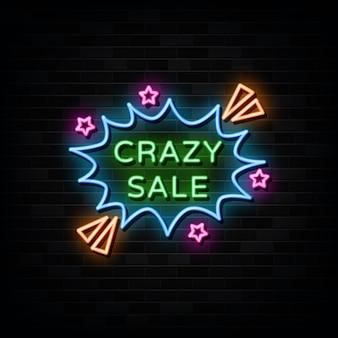 Szalona sprzedaż neonowe znaki szablon projektu neon styl