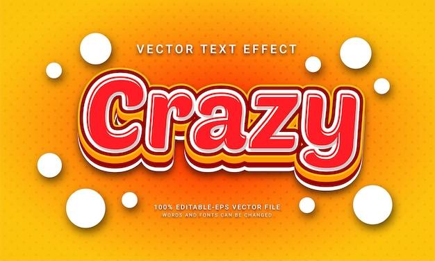 Szalony efekt stylu tekstu 3d z motywem koloru czerwonego