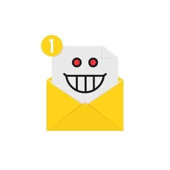 Szalony emotikon w powiadomieniu żółtą literą. pojęcie spamu, odbierania wiadomości e-mail, wariatów, kartki pocztowej, twarzy, głupiego, szalonego nastroju, komunikacji. płaski trend w stylu nowoczesny projekt graficzny logo na białym tle