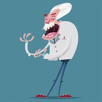 Szalony i szalony naukowiec profesorów wektor postać z kreskówki. ilustracja stary człowiek odizolowywający