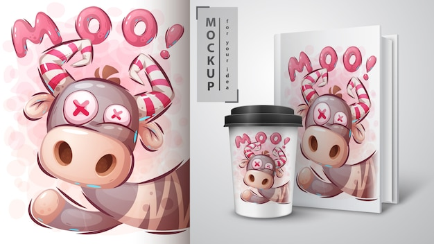 Szalony krowa plakat i merchandising