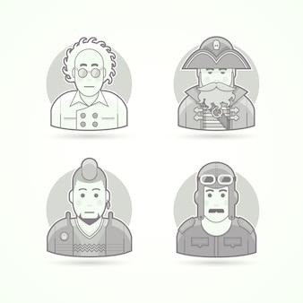 Szalony naukowiec, pirat morski, fan punka, stary pilot, zestaw ilustracji postaci, awatarów i osób. czarno-biały styl konturowy.