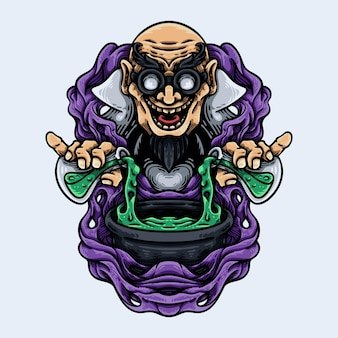 Szalony naukowiec profesor mascot characte