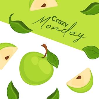 Szalony poniedziałek reklamy świeżych jabłek w supermarkecie