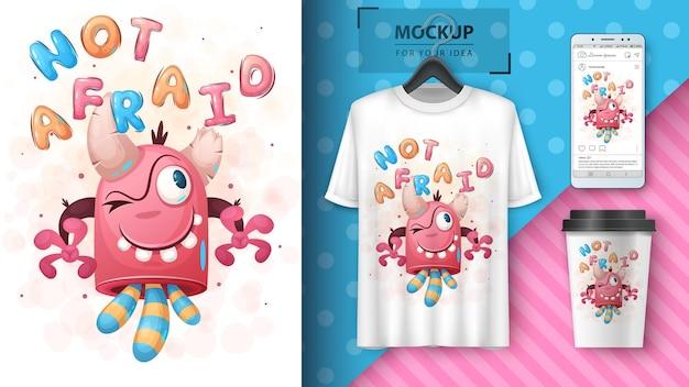 Szalony potwór - ilustracja i merchandising