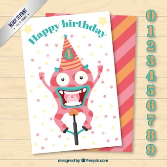 Szalony potwór kartka urodzinowa z numerami