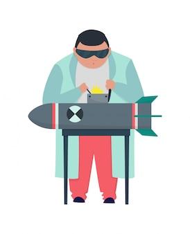 Szalony profesor w fartuchu pracującym nad bombą. szalony stereotyp naukowca.