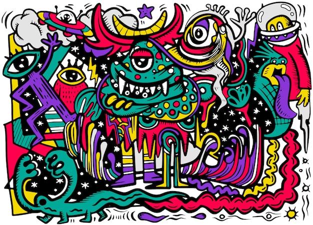 Szalony streszczenie doodle społecznościowy