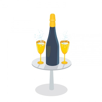 Szampańska butelka i złoci szkła z iskrzastym winem na stole, odosobnionym na białym tle