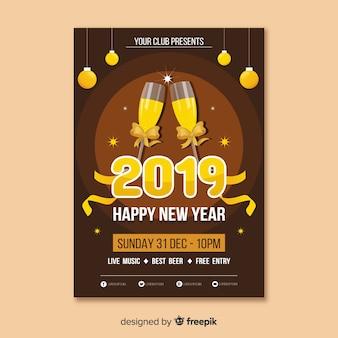 Szampańskie okulary nowy rok plakat szablon