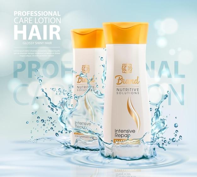 Szampon lub balsam do włosów w przezroczystej bryzgającej wodzie. baner reklamowy w butelkach kosmetycznych z balsamem lub odżywką do pielęgnacji. profesjonalne tuby pielęgnacyjne do intensywnej naprawy. kosmetyki produkt kosmetyczny realistyczny szablon 3d