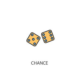 Szansa koncepcja 2 kolorowa ikona linii. prosta ilustracja elementu żółty i niebieski. szansa koncepcja zarys symbol projekt