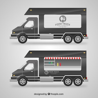 Szara ciężarówka spożywcza
