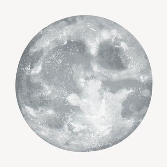 Szara ilustracja księżyca w pełni na białym tle