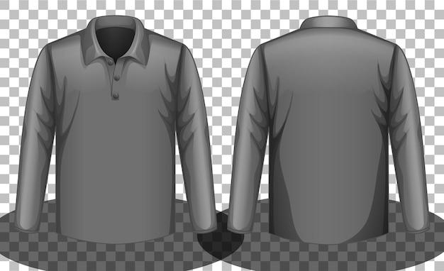 Szara koszulka polo z długim rękawem z przodu iz tyłu