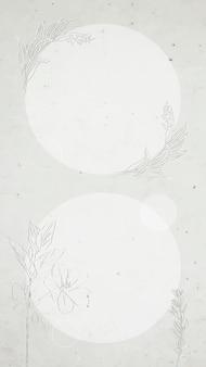 Szara okrągła ramka w kwiaty